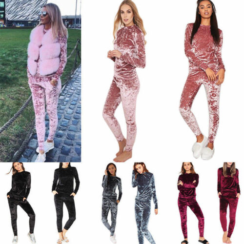 Women Crushed Velour Velvet Suit Sweatshirt Pant Ladies Loungewear Tracksuit Set