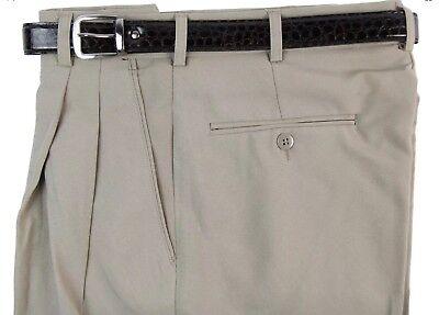 MEN/'S OLIVE PLEATED DRESS PANTS SLACKS TROUSERS BELT CUFFED BIG SIZES 32-62 NEW