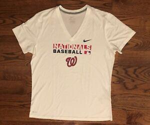 Washington-Nationals-Baseball-White-V-Neck-Nike-DRI-FIT-T-Shirt-Women-039-s-XL