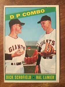 Details About 1966 Topps Baseball Card 156 Dp Combo Dick Schofield Hal Lanier Ex Exmt