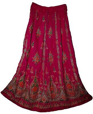 Indian COTTON skirt jupe falda rok ethnic Boho Gypsy kjol WOMEN EHS hippie retro