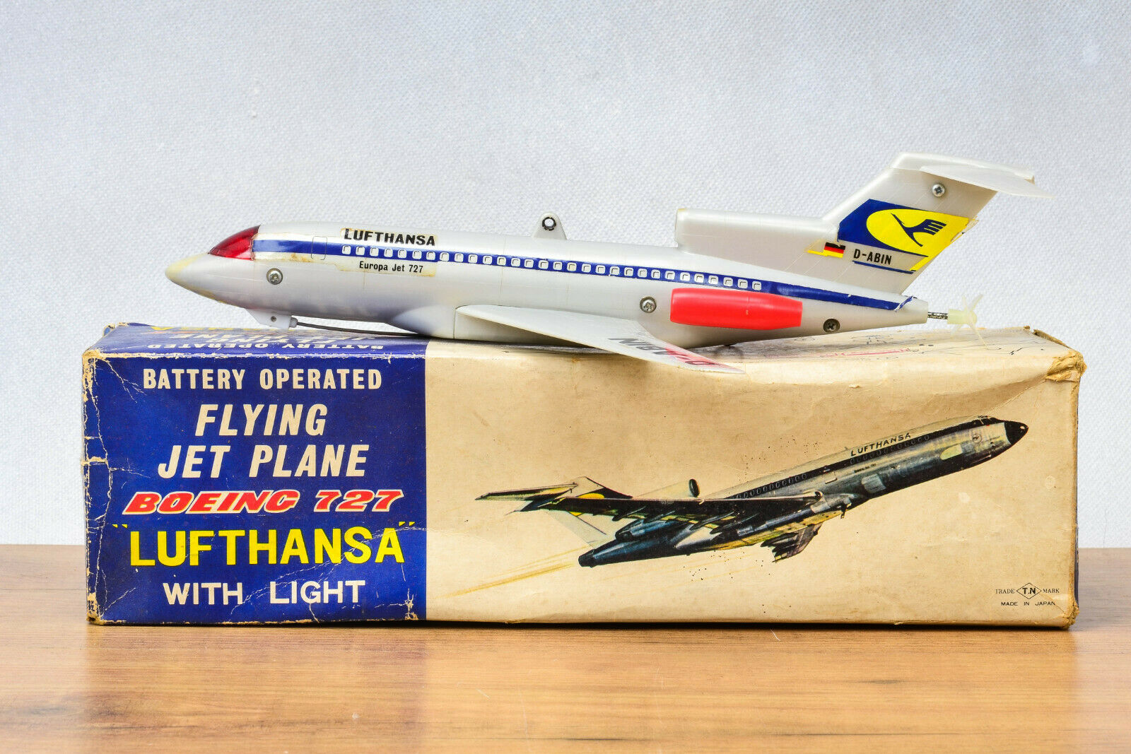 Antique Juguete De Plasti   Tn Nomura Boeing 727 Lufthansa avión avión jet de vuelo