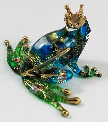 Glass Frog Crown Figurine Animal Hand Blown Amphibian Blue Green Handmade Craft