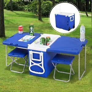 Camping Picnic Table Cooler Chair Set Beach Folding Hunting Fishing ...