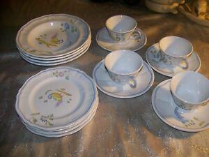 16-pc-Vintage-LONGCHAMP-PEROUGES-BIRD-DESIGN-SOUP-SALAD-CUPS-LKNU-FRANCE