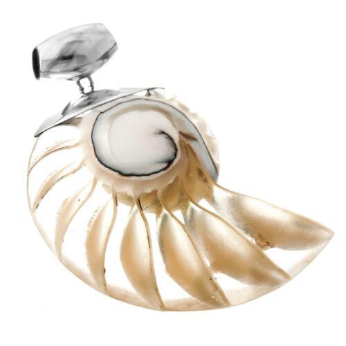 "2 3//8/"" cool Open Nautilus Shell 925 Pendentif En Argent Sterling"
