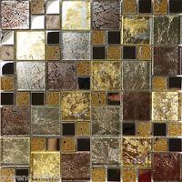10sf Golden Brown Metallic Foil Metal Glass Mosaic Tile Kitchen Backsplash Sink