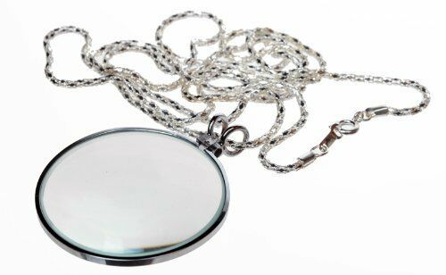"""New 4X 1.75 /"""" Glass Lens Necklace Magnifier w// 36/"""" Sliver Chain US SHIPPER *"""