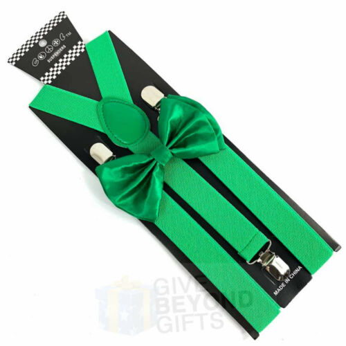 Suspender and Bow Tie Adults Men Kelly Green Wedding Formal Wear Accessories