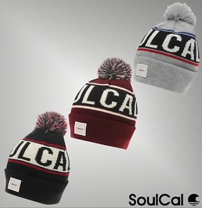 9435286b Details about Mens SoulCal Double Layer Pompom Knitted Branded Beanie Hat