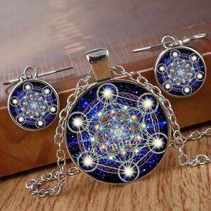 Metatron 39 s cube photo cabochon glass silver chain pendant for Metatron s cube jewelry