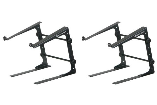 (2) Odyssey LSTANDS Adjustable Stand-Alone Tabletop Laptop Pro DJ Stands - Black