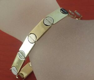14K-Solid-Screws-Motif-Love-Bracelet-2-Tone-White-amp-Yellow-Gold-7-034-long