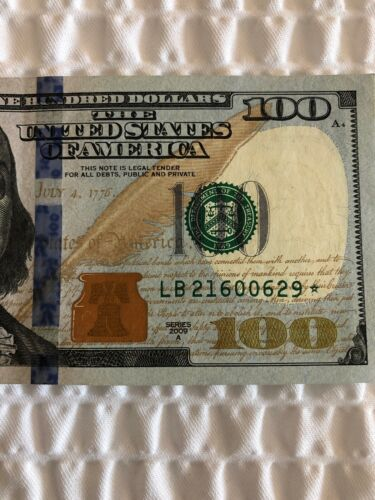 LB 21600629 ✯ $100 FEDERAL RESERVE ✯ STAR NOTE HUNDRED DOLLAR BILL 2009A