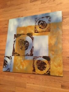 Details About Vintage Abstract Painting Acrylic On Canvas Circles Squares Blue Yellow Brown