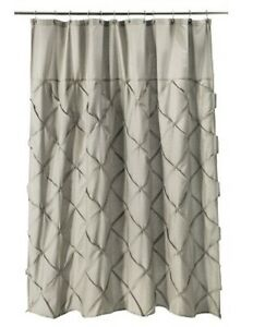 ... THRESHOLD TARGET GRAY PINCH PLEATED FABRIC SHOWER CURTAIN