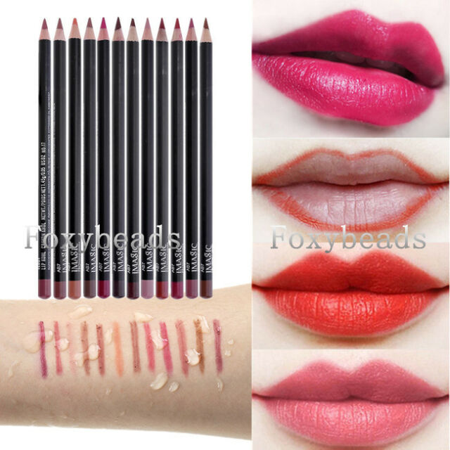 IMAGIC 12 Colors Cosmetic Professional Waterproof Lipliner Makeup Soft Pencil FB
