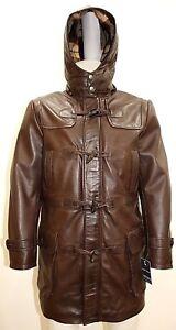 Mens Real Leather Hooded Safari Fur Winter Jacket Long 3//4 Brown Tan