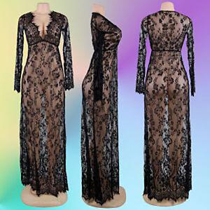 quality design 3ad25 3aace Details zu Elegantes Sexy langes Spitzen Kleid Negligee Nachthemd Dessous  Schwarz Gr. M/L