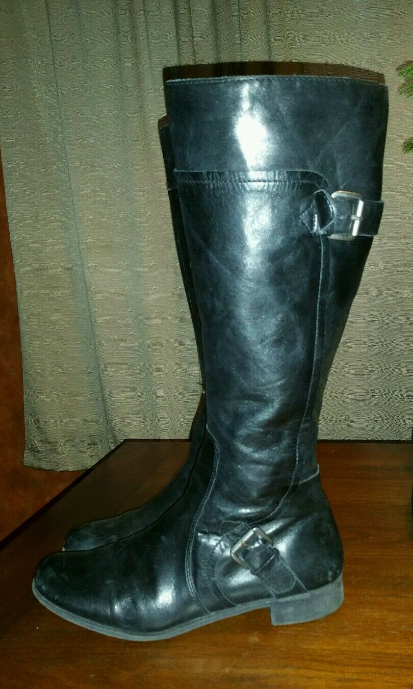 NINE LEATHER WEST VINTAGE BLACK LEATHER NINE HARNESS RIDING Stiefel EQUESTRIAN 9.5 M LADIES c35842