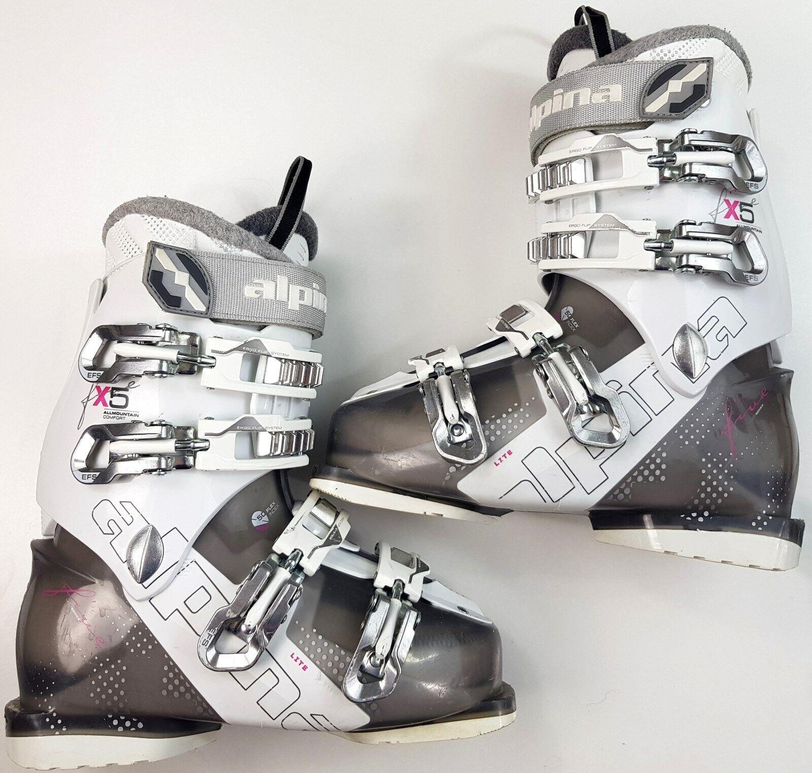 Alpina X5 Skischuhe Damen  Größe 24,0 Weiß-Silber Top Zustand