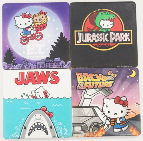New Universal Set Of 4 Hello Kitty E.T JAWS Jurassic Park Movie Ceramic Coaster