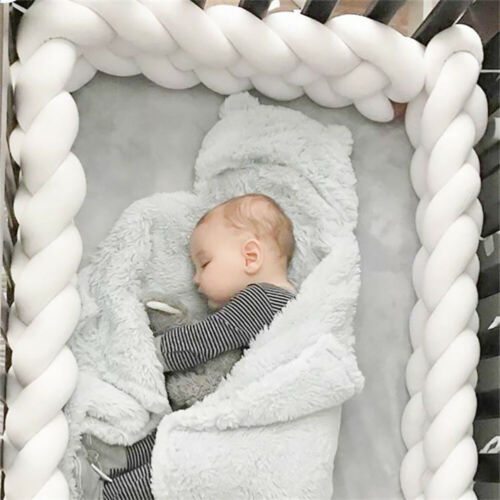 Baby Cot Bedding Bumper Infant Crib Woven Thick Plush Protection Pad Pillow 1//3M