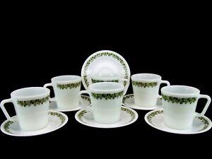 Pyrex Crazy Daisy Spring Blossom D Handle Cup Mug 1410 Corelle Saucers Lot of 12