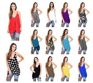 Ladies-Plain-LagenLook-V-Neck-Romper-Baggy-Loose-Oversize-Strappy-Cami-Vest-Top
