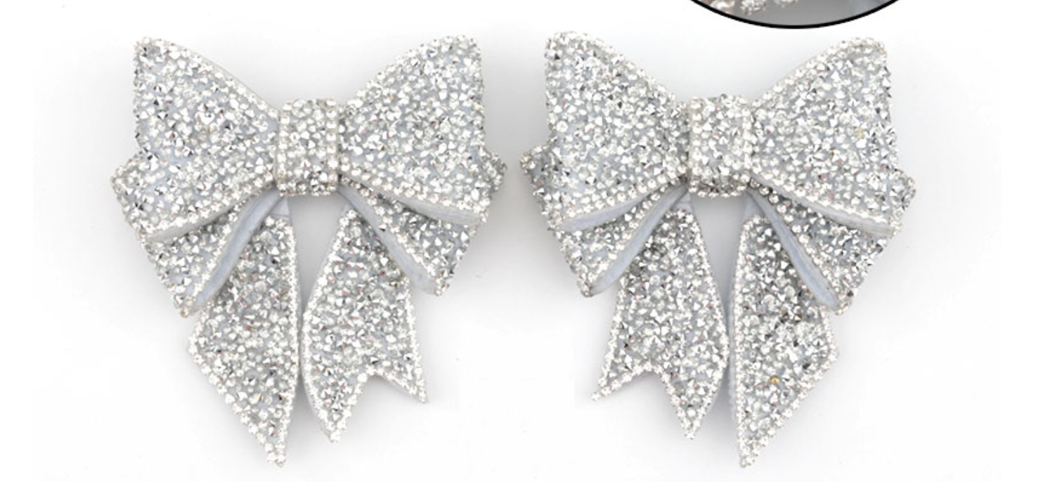 2 Pcs Vintage Diamante Crystal Large Bow Wedding Shoe Clips