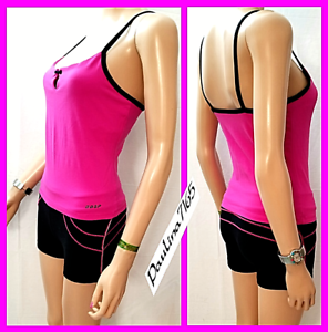 BEBE SPORT 2-PC BLK Deep Pink Tank w  Shelf bra (M, fit S) + Shorts(S)