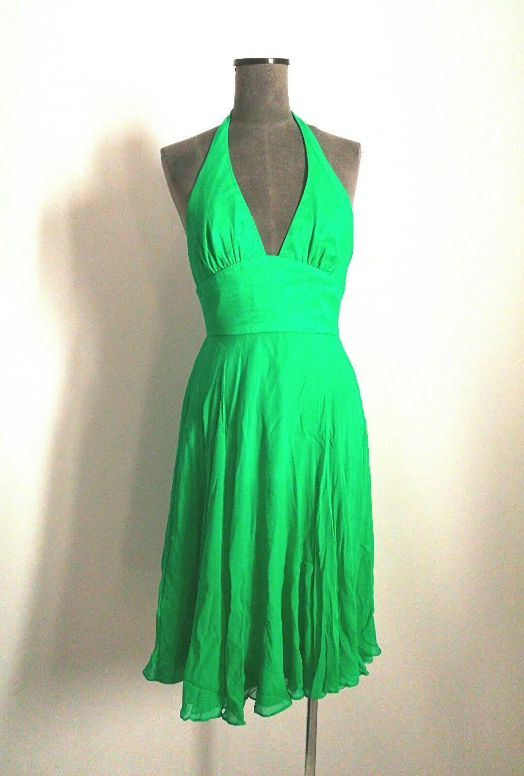 ALEX PERRY  Stunning Vibrant Emerald Green Silk Halter Dress Sz 2 US   6 AU