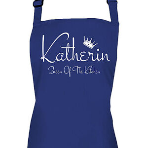 personalised blue ladies queen of the kitchen apron by inspired rh ebay co uk