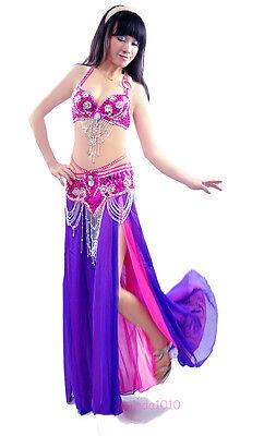 New Bollywood Halloween Carnival Belly Dance Costume Set Bra Belt Hip Scarf 2PCS