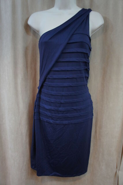 Marc New York Dress Sz 8 Ink Short One Shoulder Stretch Tiered Cocktail