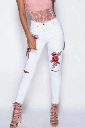 New Women Ladies Knee Rip Embroidered Flower Detail White Skinny Jeans Size 6-14