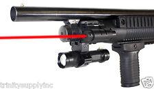 Tactical Red Laser + Clamp Mount + LED Flashlight Fits Remington 870 Shotgun.