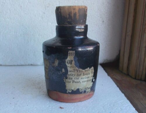 1840s EARLY REDWARE UTILITY BOTTLE WPARTIAL LABEL & CORK STOPPER