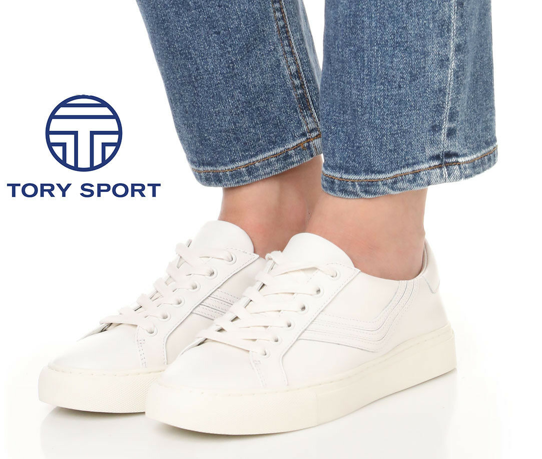 TORY BURCH Sport Chevron Low Top Lace Up SNEAKERS Chaussures Blanc Leather NEW