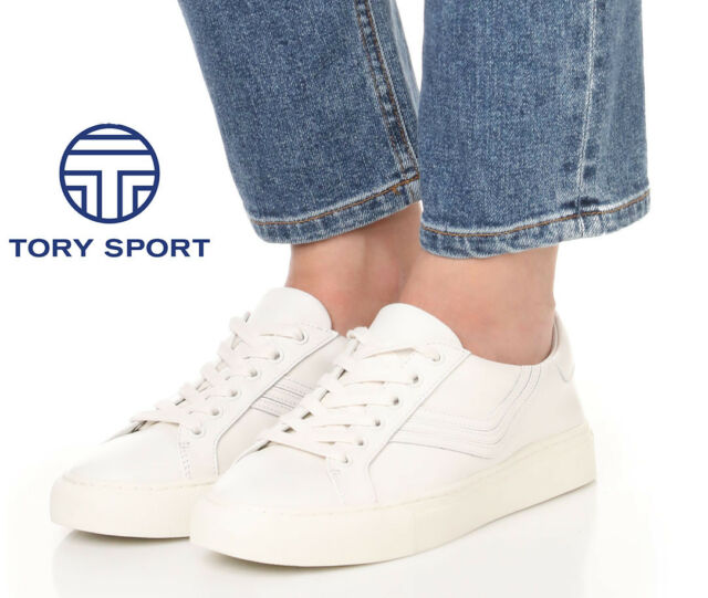 86cc1b20b918 TORY BURCH Sport Chevron Low Top Lace Up SNEAKERS Shoes 10.5 White Leather  NEW