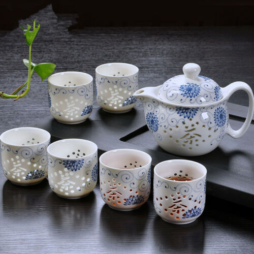 7p Chinese porcelain Linglong series  tea set blue-and-white porcelain pot cup