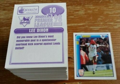 Complete Your Collection Merlin Premier League 98 Stickers