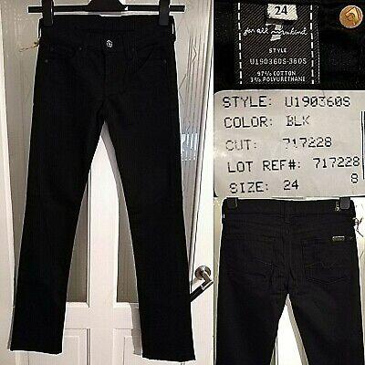 7 Per Mankind Jeans Neri All Uk 4 W24 L32 Taglio Dritto U190360s Gamba Slim-mostra Il Titolo Originale