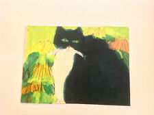 Walasse Ting  A black cat early small size work rare