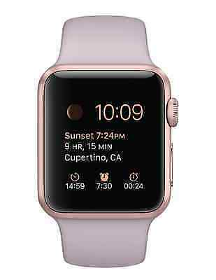 Apple watch sport 38mm rose gold case lavender sport band mlch2ll a ebay for Rose gold apple watch