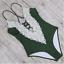 New-Women-039-s-Swimsuit-Swimwear-Deep-V-Neck-One-Piece-Swimwear-Green-Lace thumbnail 2