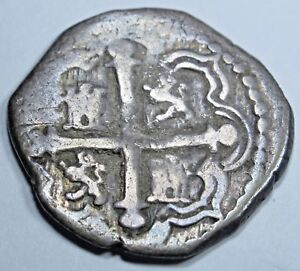 1500s-OmF-Spanish-Mexico-Silver-1-Reales-Cob-Piece-of-8-Real-Antique-Pirate-Coin