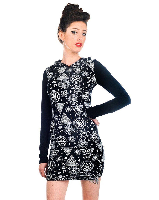 Jawbreaker Gothic Illuminati Occult Symbols Witch Hoodie Tunic Dress  Sz  XL