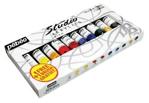 Pebeo-Studio-Acrylic-10-x-20ml-Tubes-Assorted-Colours-With-Artist-Brush-833311