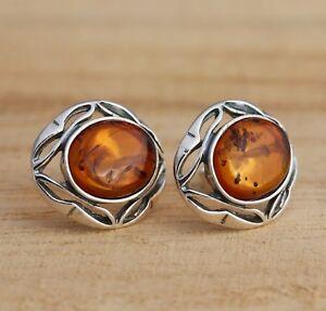 Cognac-Baltic-Amber-925-Sterling-Silver-Oval-Stud-Earrings-Jewellery